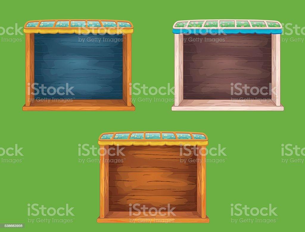 Game wooden shelf windows set vector art illustration