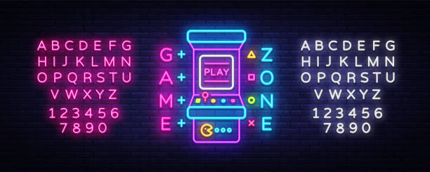 ilustrações, clipart, desenhos animados e ícones de zona de jogo logo vector neon. placa de sinal de néon de sala, modelo de design, publicidade da indústria de jogos, vetor de máquina de jogos do jogo, elemento de design do banner, luminosos de néon de luz. vector. edição de texto néon - mobile