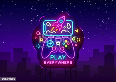 Gamepad and Smartphone neon sign vector. Games for Smartphone Logotype, Emblem in Modern Trend Design, Vector Template, Light Banner, Night Vivid Video Game Promotion, Design Element. Vector Billboard