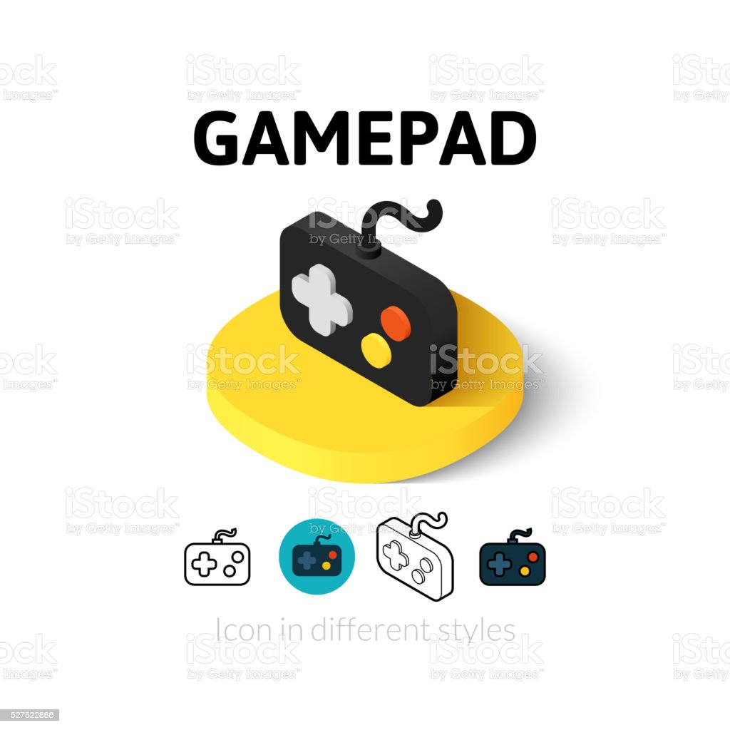 Gamepad icon in different style vector art illustration