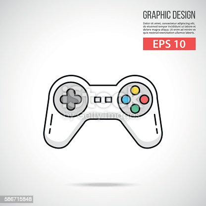 Gamepad icon. Thin line style design. White game controller isolated on gradient background. Vector illustration