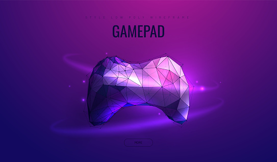 Gamepad. Low poly wireframe style. E-learning distance. Concept of computer games. Polygonal abstract isolated on dark background. Vector