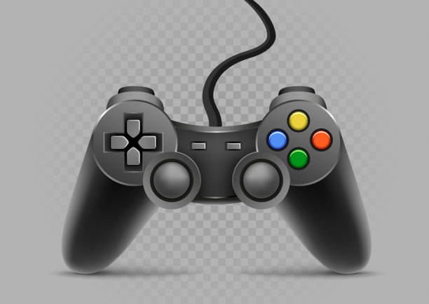 gamepad on gray transparent background Gamepad with shadow on gray transparent background game controller stock illustrations