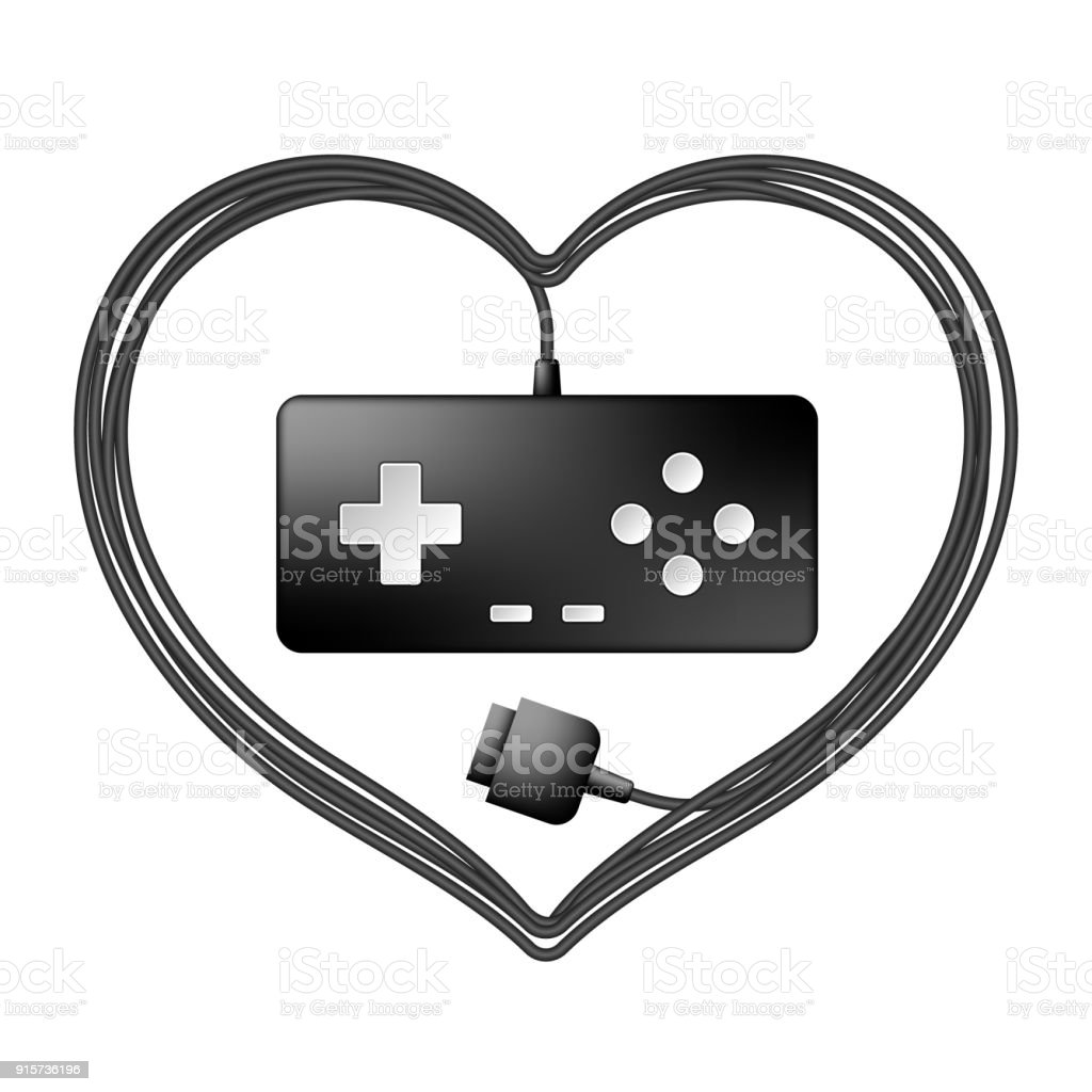 Gamepad Or Joypad Black Color And Heart Frame Made From Cable Design ...