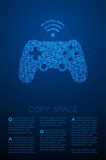 Gamepad o Joypad forma partícula geométrica bokeh círculo punto píxel patrón, Esports juego controlador de diseño de color azul en fondo degradado azul con espacio de copia, Vector EPS 10