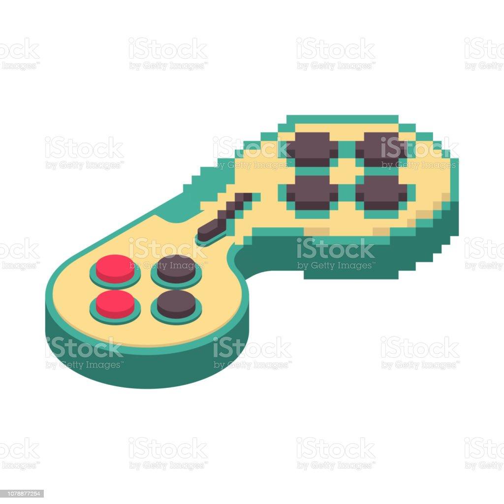 ゲームパッド ピクセル アート。ジョイスティック 8 ビット。ビデオ ゲーム古い学校コントロール レバー ベクターアートイラスト