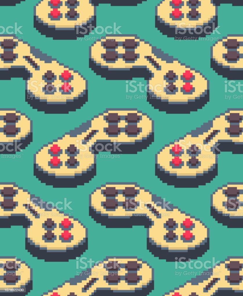 ゲームパッド ピクセル アート パターン シームレス。ジョイスティックの 8 ビットの背景。ビデオ ゲーム古い学校コントロール レバー ベクターアートイラスト
