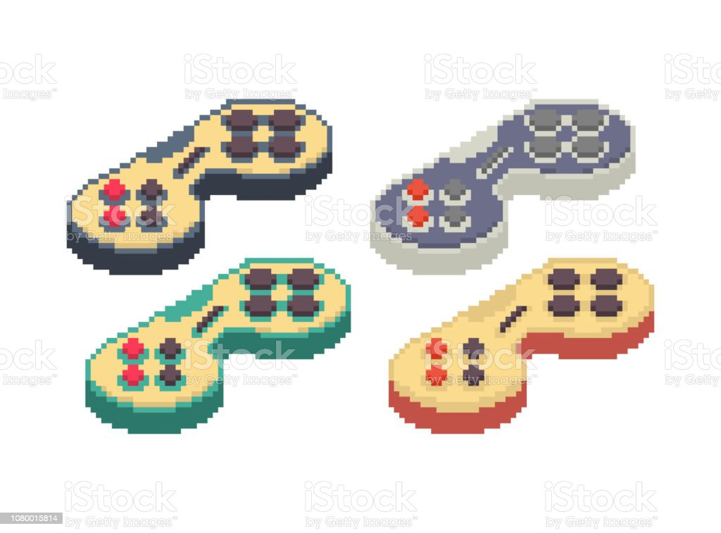ゲームパッド ピクセル アートを設定します。ジョイスティック 8 ビット。ビデオ ゲーム古い学校コントロール レバー ベクターアートイラスト