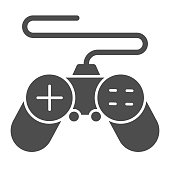 istock Gamepad solid icon, Coworking concept, joystick sign on white background, controller for video games icon in glyph style for mobile concept and web design. Vector graphics. 1264394718