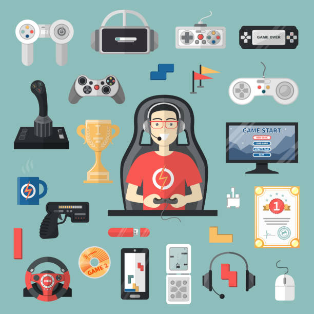 ilustrações de stock, clip art, desenhos animados e ícones de gamepad vector gamer playing gameplay and player character gaming videogame with joystick or game-console illustration set of game gadgets isolated on background - man joystick