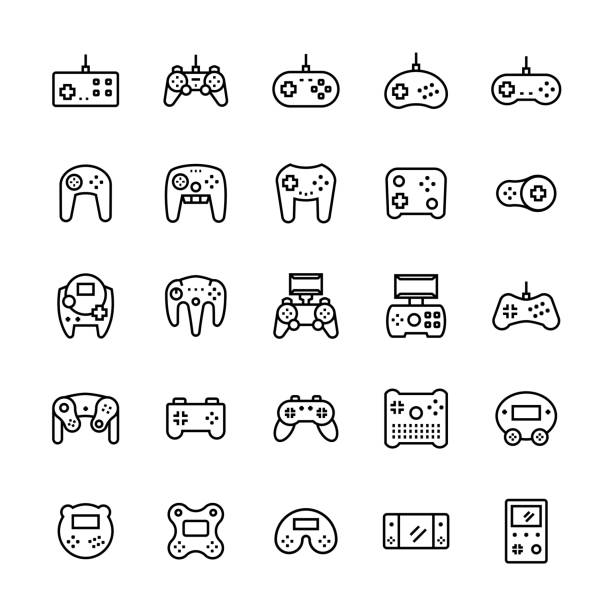 Gamepads icon set in thin line style.Vector symbols Gamepads icon set in thin line style.Vector symbols game controller stock illustrations
