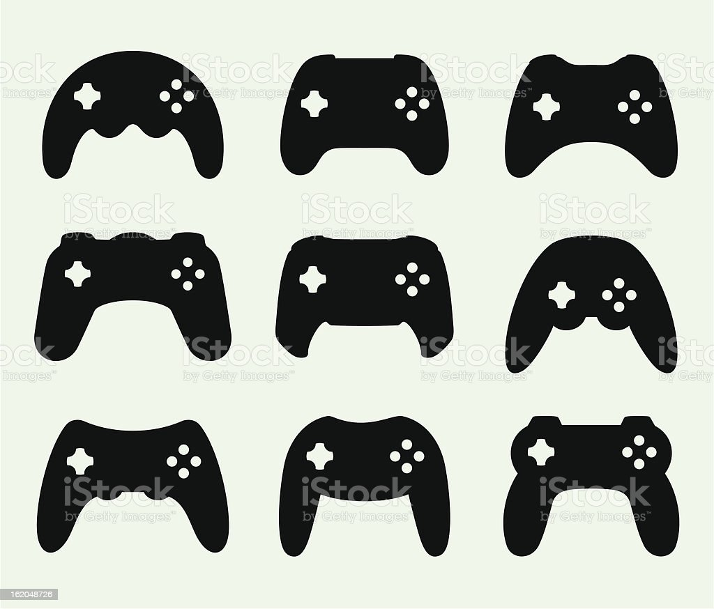Gamepads silhouettes royalty-free stock vector art