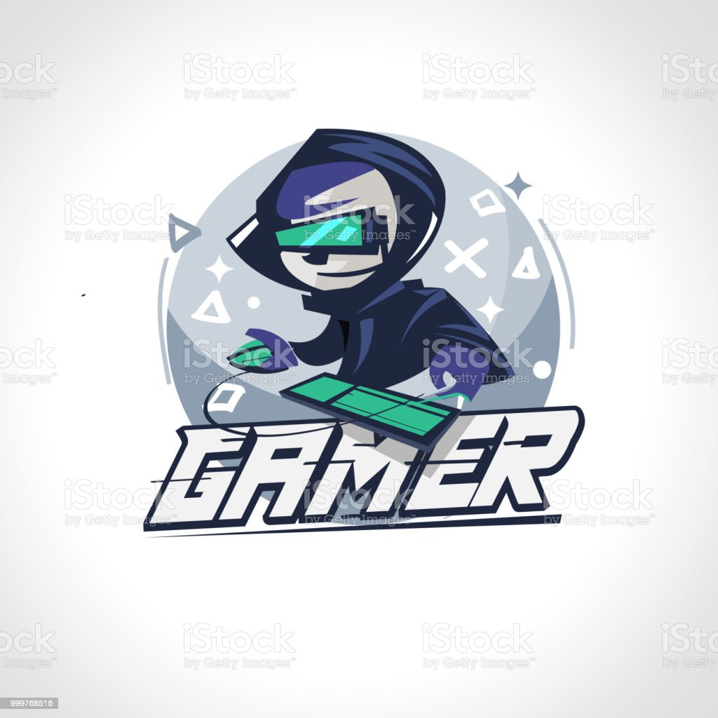 Gamer boy character design in actions. Gamer logo - vector vector art illustration