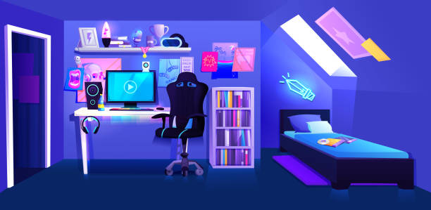 Gamer boy room on attic interior banner. Workplace cyber sportsman gamer. A desk with a computer and headphones and a mouse with light and a gamers chair. Vector cartoon illustration Gamer boy room on attic interior banner. Workplace cyber sportsman gamer. A desk with a computer and headphones and a mouse with light and a gamers chair. bedroom backgrounds stock illustrations