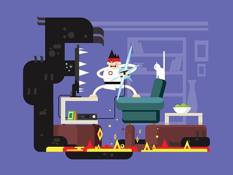 Gamer Cartoon Character Stock Illustration Download Image Now Istock