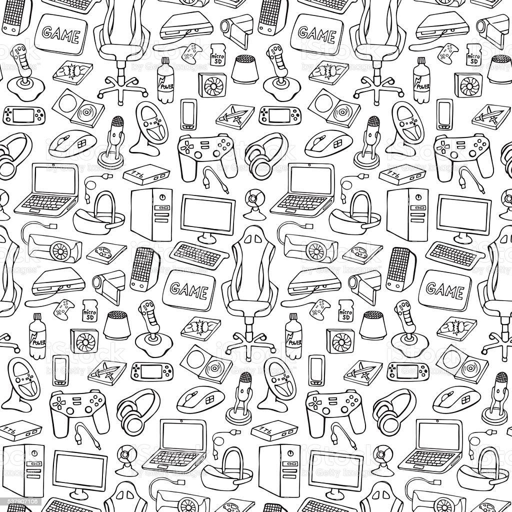 Gamer doodle seamless pattern vector art illustration