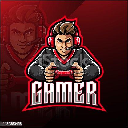 Illustration of Gamer esport mascot logo design