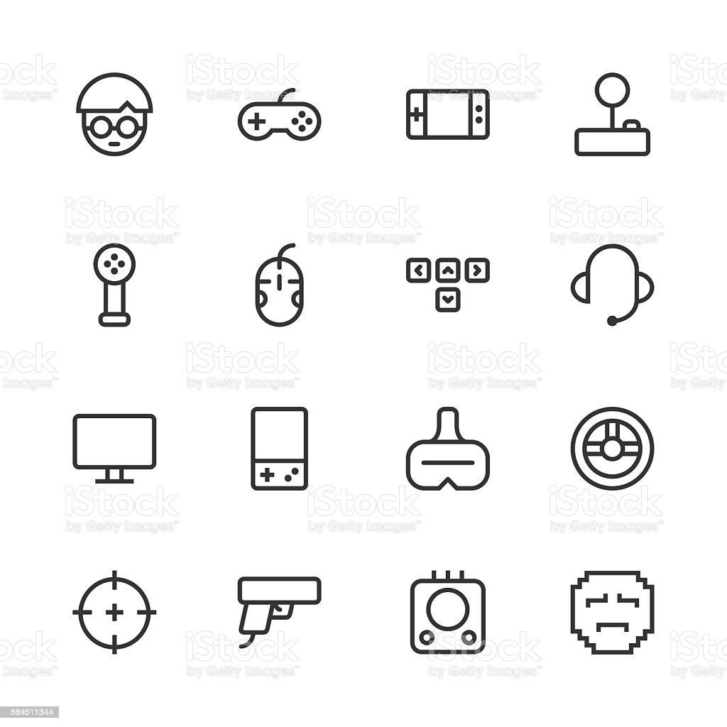 Gamer Icon - Line Series vector art illustration