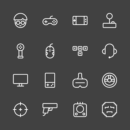 Gamer Icon - White Line Series