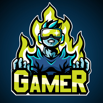 Gamer, Mascot logo, Sticker design, Vector illustration.