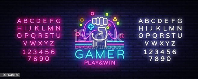 Gamer Play Win logo neon sign Vector logo design template. Game night logo in neon style, gamepad in hand, modern trend design, light banner, bright advertisement. Vector. Editing text neon sign.