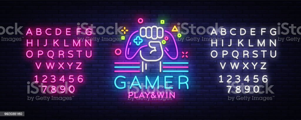 Gamer Play Win logo neon sign Vector logo design template. Game night logo in neon style, gamepad in hand, modern trend design, light banner, bright advertisement. Vector. Editing text neon sign vector art illustration