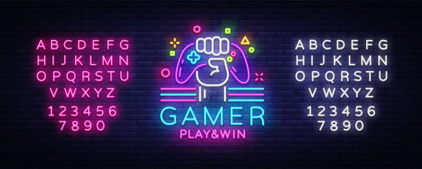 Gamer Play Win logo neon sign Vector logo design template. Game night logo in neon style, gamepad in hand, modern trend design, light banner, bright advertisement. Vector. Editing text neon sign Gamer Play Win logo neon sign Vector logo design template. Game night logo in neon style, gamepad in hand, modern trend design, light banner, bright advertisement. Vector. Editing text neon sign. game controller stock illustrations