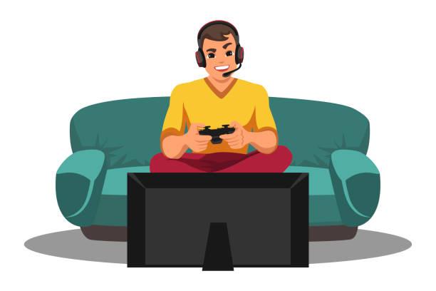 白のテレビのビデオゲームの前をプレイゲーマー - ゲーム ヘッドフォン点のイラスト素材/クリップアート素材/マンガ素材/アイコン素材