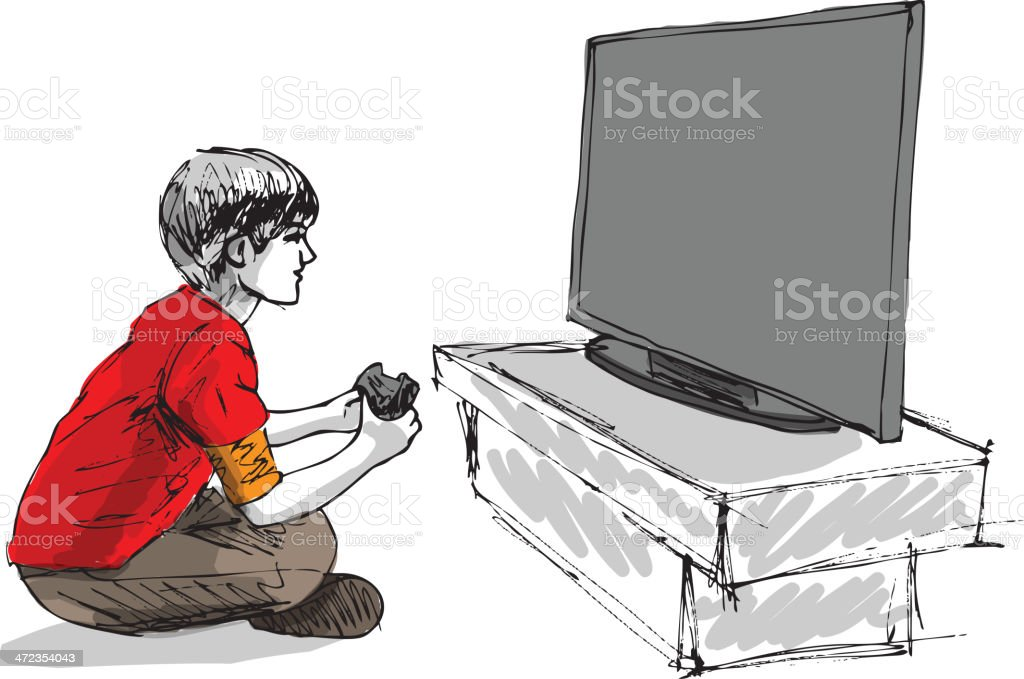 Gamer Playing Video Games On Tv Stock Illustration