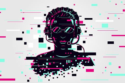 Gamer portrait. Video games background, glitch style. Player vector illustration. Online user.
