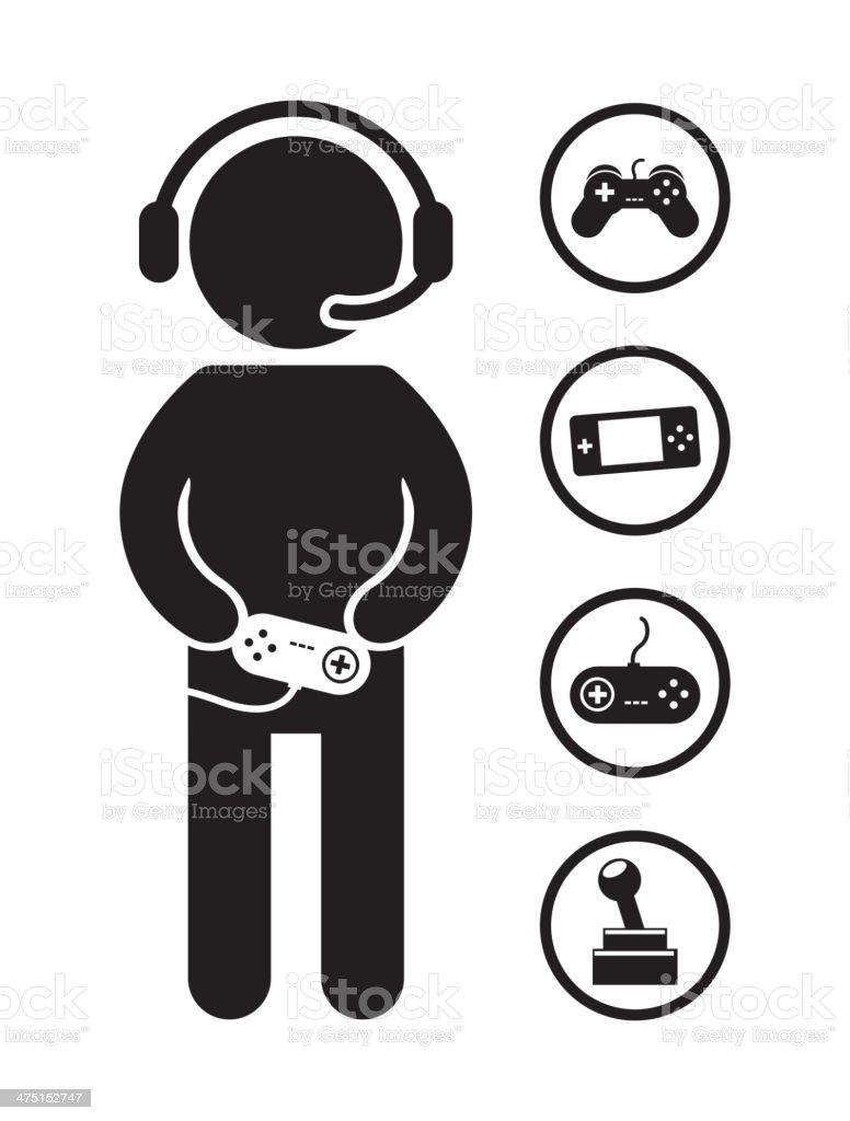 Gamer Sketch vector art illustration