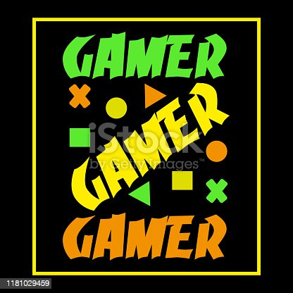 Gamer text, and geometric shapes, on black backgound, and frame.
