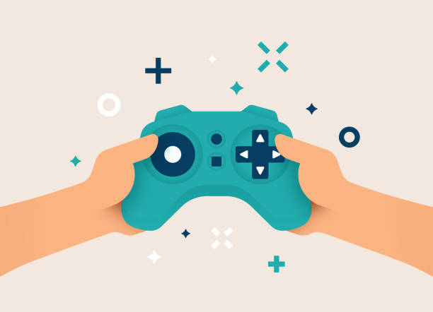 Gamer using Gaming Controller Person hands holding gaming controller gamer playing a console game. game controller stock illustrations