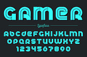 Gamer vector decorative font design, alphabet, typeface, typogra
