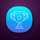 Gamer winning cup app icon. Virtual video game prize, award. Esports championship. Winner pot of game. UI/UX user interface. Web or mobile application. Vector isolated illustration