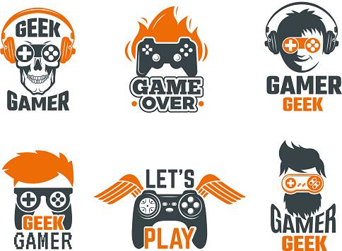 Gamers badges. Joystick video gaming old school labels for smart geek vector template