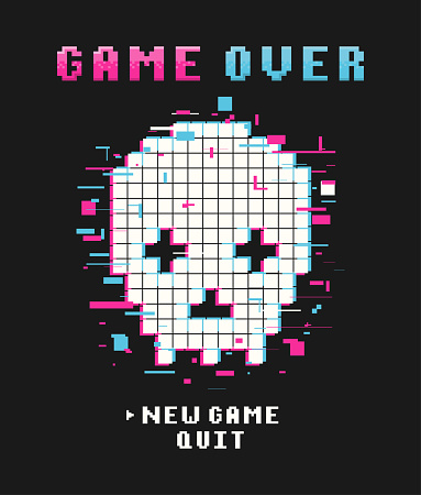 Gamers t-shirt design with glitch pixel skull and pixel text and slogan. Typography graphics for tee shirt with pixelated glitchy skull. Slogan print for video game concept. Vector