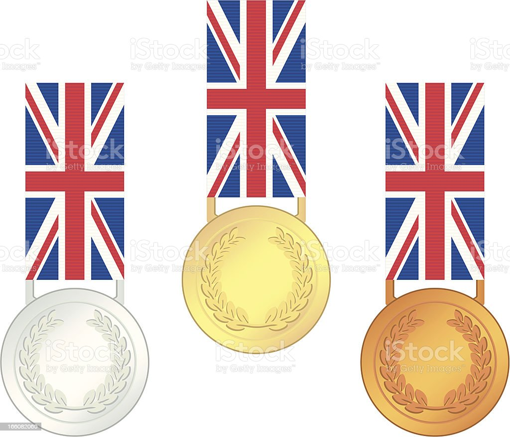 UK Olympic Games Finalists' Medals royalty-free stock vector art