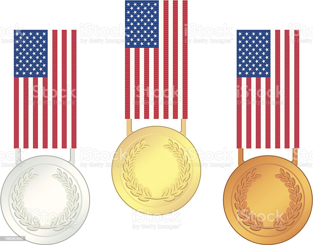 USA Olympic Games Finalists' Medals royalty-free stock vector art