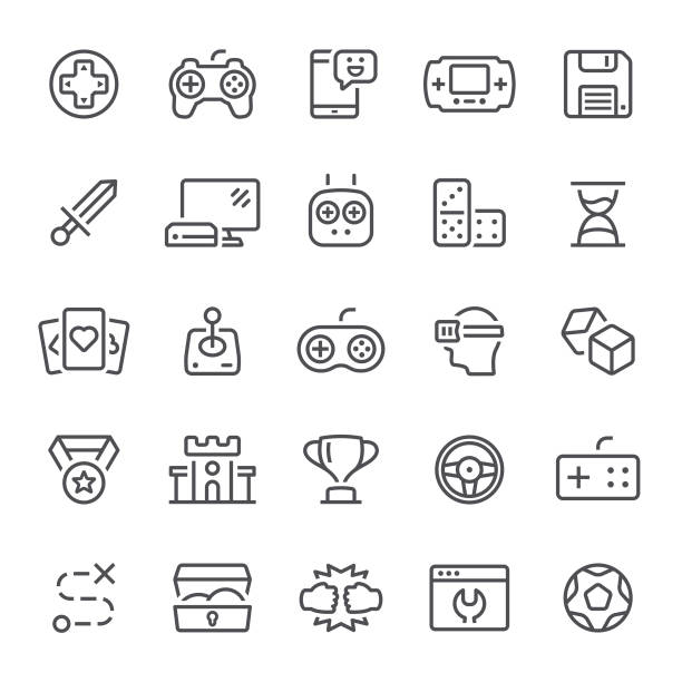 Games Icons Video game, leisure games, icons, joystick, gamepad, icon leisure games stock illustrations