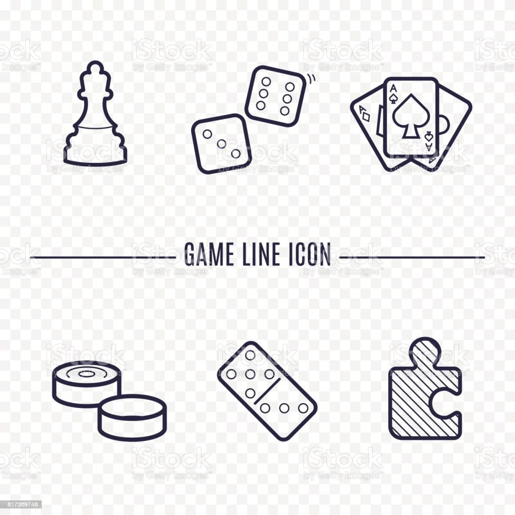 Games linear icons. Chess, dice, cards, checkers and other board games. Game thin linear signs. Outline concept for websites, infographic, mobile applications. vector art illustration