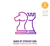 istock Games of Strategy Continuous Line Editable Stroke Line 1257210347