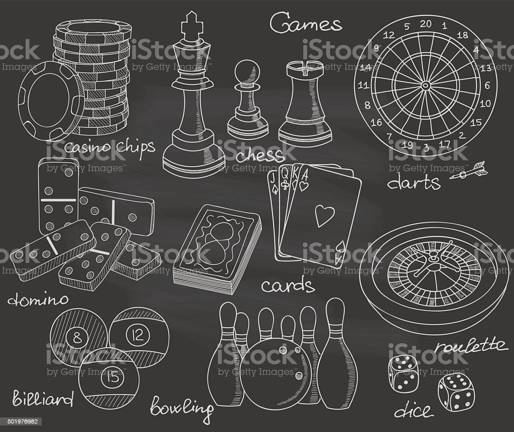 Games set vector art illustration