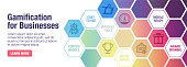 Gamification vector banner illustration also contains icons for the topic.