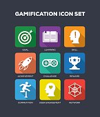 Gamification Flat Icons Set