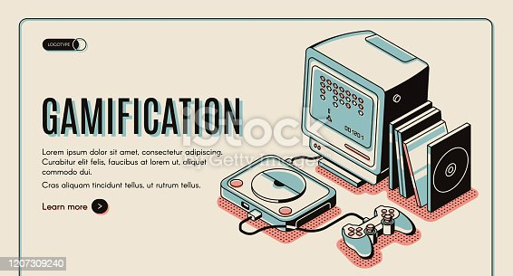 Gamification banner, gamer console for playing, retro video playstation with joystick and disks, interactive technology innovation. 3d Isometric vector illustration, line art, landing page template