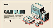 istock Gamification, gamer playing console, playstation 1207309240