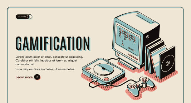 Gamification, gamer playing console, playstation vector art illustration
