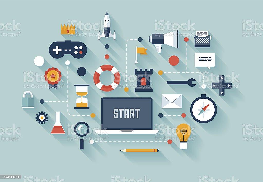 Gamification strategy in businessvectorkunst illustratie