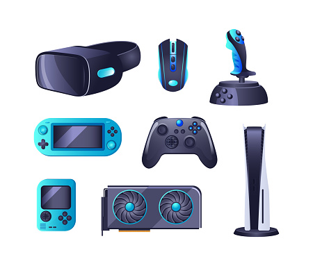 Gaming accessories and professional IT equipment set. Headset with mic, gaming chair, monitor, steering wheel, virtual reality glasses, playing joystick, video console, headphone, mouse